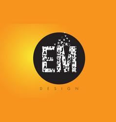 Em e m logo made of small letters with black vector