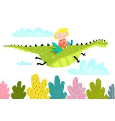 Fairy tale dragon fly with little girl vector