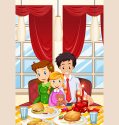 Family having meal on dining table vector