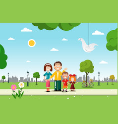family in city park flat design vector image