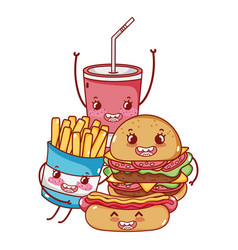fast food cute burger hot dog french fries and vector image