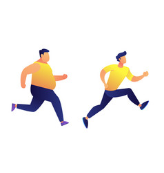 fat and slim men running vector image