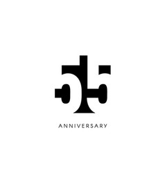 fifty five anniversary minimalistic logo fifty vector image