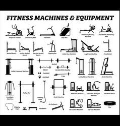 Fitness cardio and muscle building machines vector
