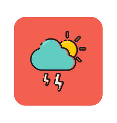 Flat color rainy icon vector