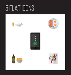 Flat icon oneday set of fried egg beer with chips vector