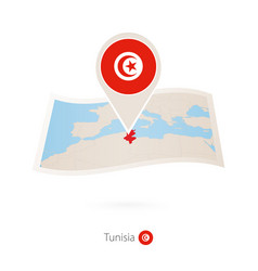 Folded paper map tunisia with flag pin of vector