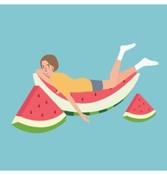Fresh water melon man sleeping relaxing above vector