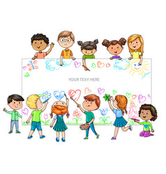 Funny cartoon children different nationalities vector
