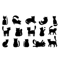 funny cat silhouettes vector image