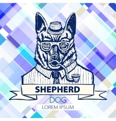 German Shepherd dressed up in suit fashion dog vector image