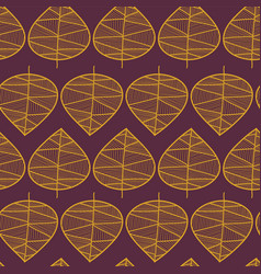 golden leaves pattern on a purple background vector image