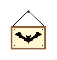 Halloween hanging wood sign board with bat vector