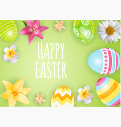 happy easter cute background with eggs vector image