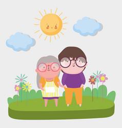 happy grandparents day cartoon design vector image