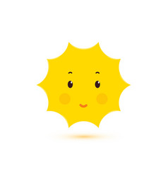 happy smiling sun isolated icon cute vector image