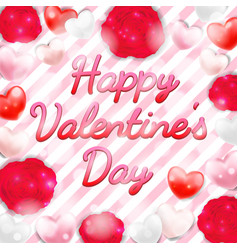 happy valentine day with pink red white heart vector image