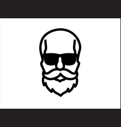Hipster skull a man with beard mustache and g vector