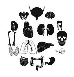internal organs black simple icons vector image