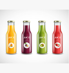 Juice glass bottles set vector