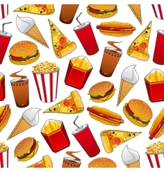 Junk food seamless pattern with fastfood dinner vector image