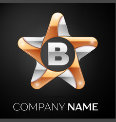 letter b logo symbol in the colorful star on black vector image