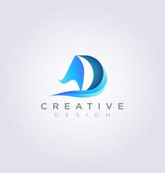 Letter d sailed design clipart symbol logo vector