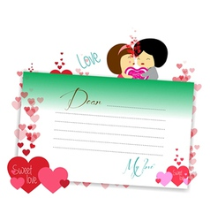 Letterhear for valentines green vector image