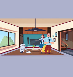 man and woman looking at robot housekeeper vector image
