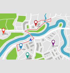 Map with route and gps pointers vector