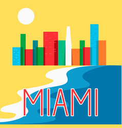 Miami abstract skyline city skyscraper flat vector