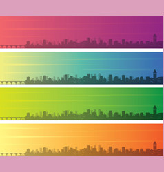 Minneapolis multiple color gradient skyline banner vector