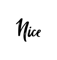 nice hand-lettering calligraphy hand drawn brush vector image