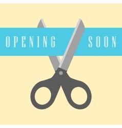 Open concept scissors cut the ribbon vector
