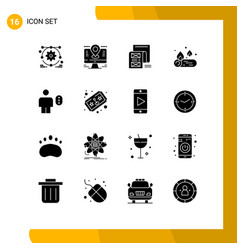 Pack 16 creative solid glyphs avatar fire vector