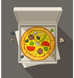 Pizza in open box vector