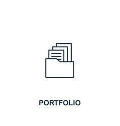 portfolio icon thin outline style design from vector image