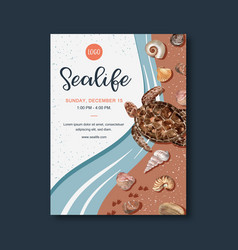 Poster design with sealife-theme turtle vector