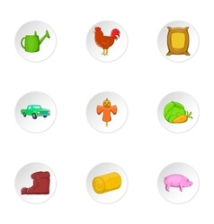 Ranch icons set cartoon style vector