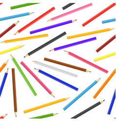 realistic detailed 3d colored pencils seamless vector image