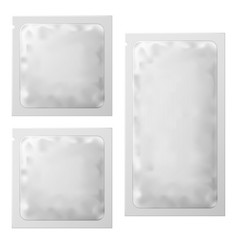 realistic white blank sachet template packaging vector image
