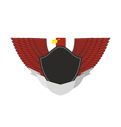 Red Eagle on military emblem Bird with wings and vector