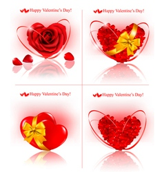 red hearts made of rose petals vector image