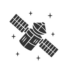 satellite glyph icon sputnik artificial object vector image
