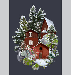 Scandinavian winter landscape with traditional vector