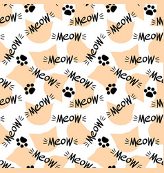 Seamless pattern with meow lettering and cat head vector
