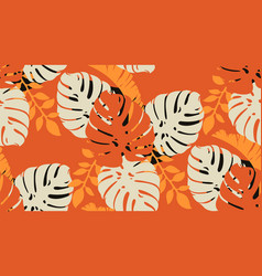 seamless tropical pattern with leaves vector image