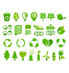 set eco icons or isolated ecology signs vector image