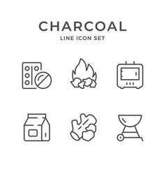 Set line icons of charcoal vector