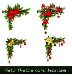 set of cristmas corner decorations vector image
